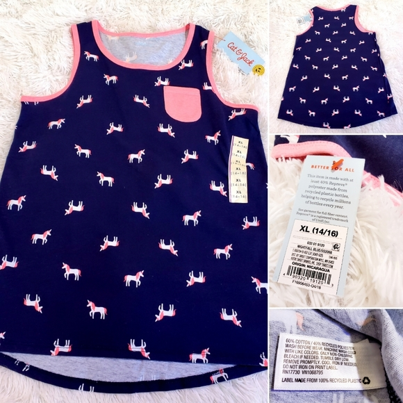 Brand new girl size 14 to 16 Navy unicorn tank top